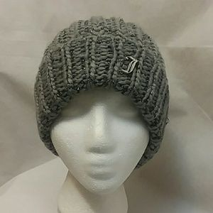 Juicy Couture Gray Silver Metallic Slouchy Beanie